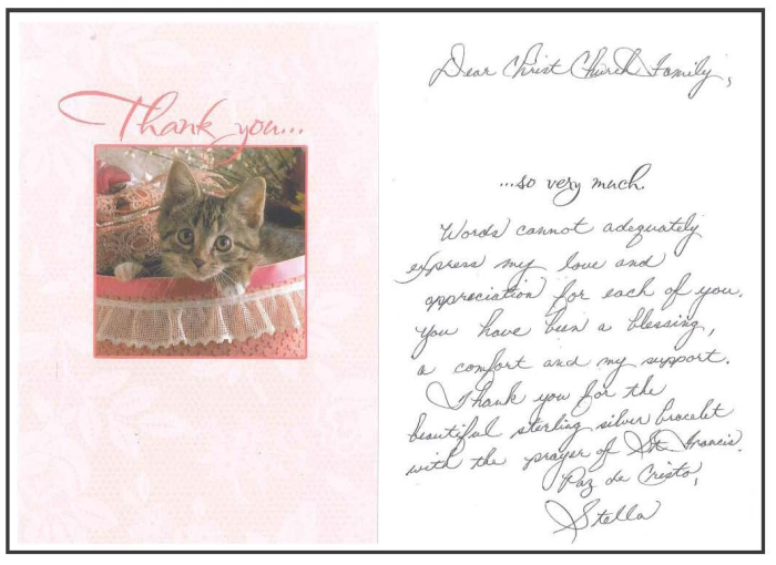 thank you note from deacon stella clark the vineyard
